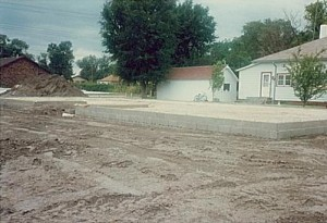 "Foundation work for the ""new"" Gordon City Library; August, 1986"