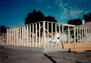 Framing the new library building, September 1986.