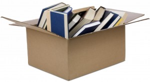Books in a cardboard box